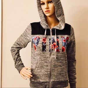 NWOT- VS•PINK Full zip hoodie with floral logo